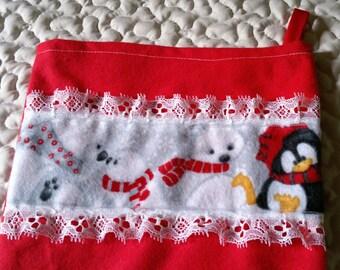 Flannel Christmas Penguins and Polar Bears Stockings / Handmade
