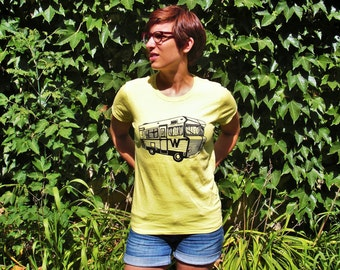 CLEARANCE/camp winnebago yellow t-shirt, 100% cotton, for women