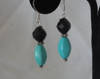 Gorgeous Turquoise Onyx Silver Hook Earrings*****