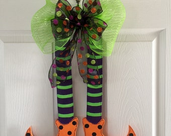 WITCH LEGS, Halloween  Door Hanger, Witches Leg Door Hanger, Fall Wreath, Halloween Wreath, Holiday Wreath, Halloween Decor