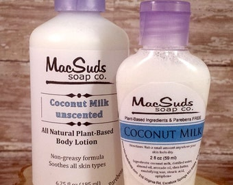Coconut Milk Lotion, Unscented Lotion, Paraben free, Non-greasy lotion, Organic body lotion, Vegan