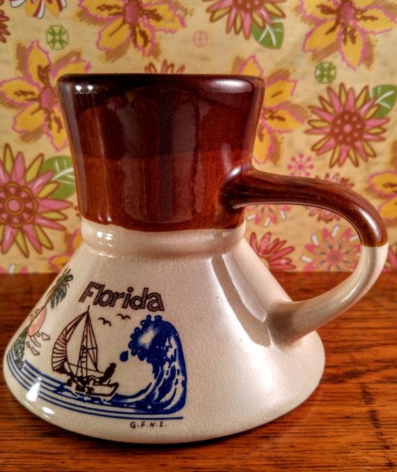 Vintage Florida Wide Bottom No Spill Travel Coffee Mug Retro