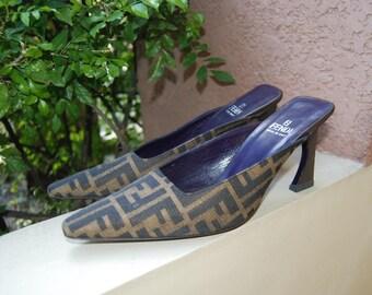 Sale Fendi FF Monogram Heels Shoes Made in Italy Sz 38