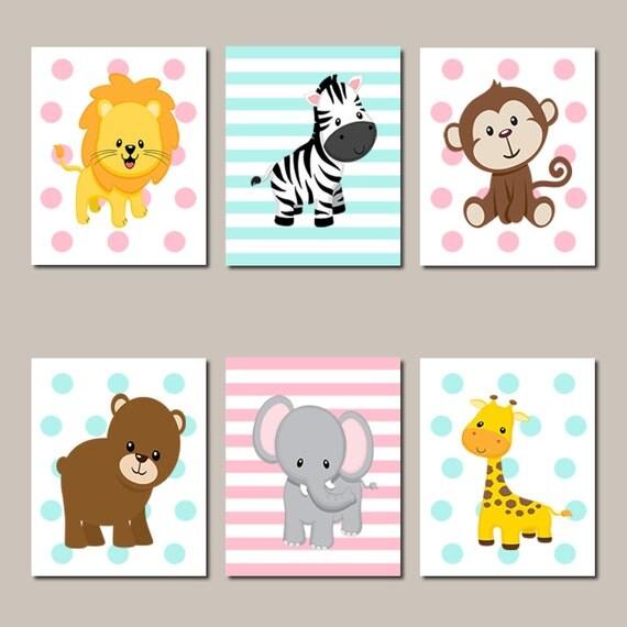 Jungle Wall Art Nursery : Jungle nursery wall art animals elephant giraffe