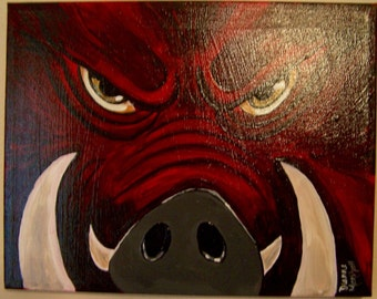 Original Razorback Acrylic Painting - Mad Hog 11 x 14