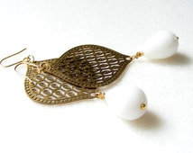 Long Indian Earrings, Gold and White Earrings, Indian White Earrings, White, Gold Filigree and White Porcelain , French Chic, Summer Party,