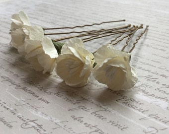 Pale Cream Cherry Blossom Hair Pins - Set of 5