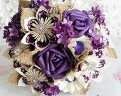 Paper Flower Bouquet blossom beautiful plum purple grape cadbury rose origami kusudama flowers hessian leaves diamante theme alternative