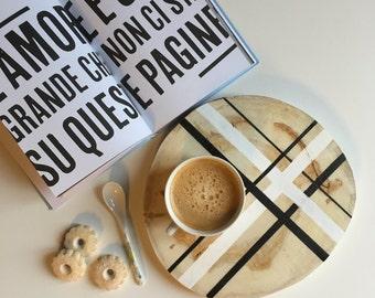 Natural wood tray CIRCLE nordic style