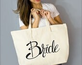 """Bride Large Zip Tote: 100% Natural Cotton Canvas 22""""W x 15""""L x 5""""D with Interior Zippered Pocket  and Bottom Gusset- By Alicia Cox/ Ellafly"""