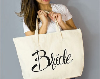 "Bride Large Zip Tote: 100% Natural Cotton Canvas 22""W x 15""L x 5""D with Interior Zippered Pocket  and Bottom Gusset- By Alicia Cox/ Ellafly"