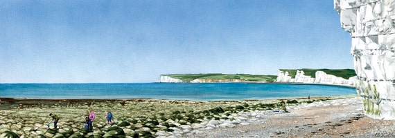 Rock Pooling at Birling Gap, signed, mounted print