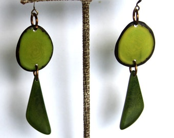 Natural Tagua Earrings in Green. Light Weight Earrings made with Fair Trade Tagua Nut Beads