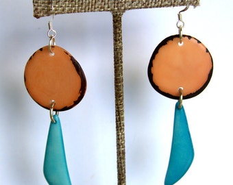 Natural Tagua Earrings in Soft Peach and Turquoise,  Light Weight Earrings made with Fair Trade Tagua Nut Beads
