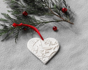Handmade Porcelain Heart Ornament, White Ceramic Heart Ornament, Porcelain Gift Tag, Wedding Favors, Holiday Decoration