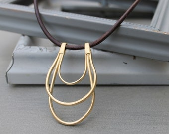 Boho Necklace, Gold and Leather bohemian necklace, Minimalist Dainty Pendant Necklace, minimalist necklace, dainty necklace, contemporary