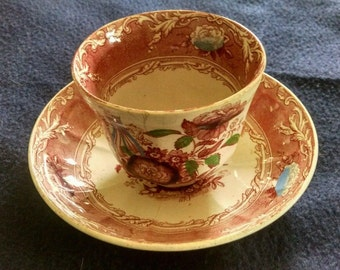 C.Wooliscroft Red Ironstone Hand Painted Cup and Saucer