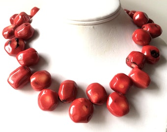 Red Coral Necklace, Large Coral Necklace, Beach Wedding Jewelry