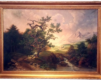 Antique Original Oil on Canvas Painting - Mountain River