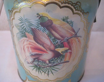 Aqua pink metal cookie tin, bird of paradise, decorative floral tin, Murray Allen, made in England, shabby country chic decor