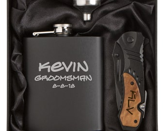 Engraved 7oz Stainless Steel Flask Funnel Rescue Knife Gift Box MATTE BLACK Personalized Custom Groomsman Wedding Best Man Father Gift