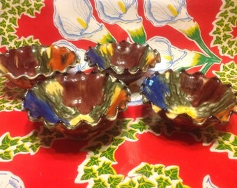 Vintage beautiful Oaxacan set  of 4 dripware clay bowls- Oaxaca, Mexico