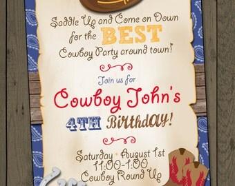 Cowboy Birthday Party Invitation Cowboy Invitation Digital Invitation