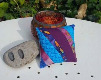 Medium Handmade Patchwork Pincushion in Recycled Fabric