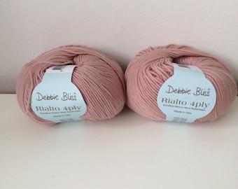 2 x 50g Debbie Bliss Rialto 4 ply wool yarn 100% extra fine merino wool blush 34