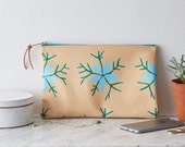 Screen Printed Yellow Leather Clutch Purse Bag Handbag  Nigella Blue Green Botanical Floral Flower Gift