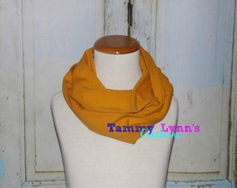 Girls Mustard Yellow Solid Cotton Spandex Infinity Scarf Stretch Knit Soft Scarf Girl's Accessories