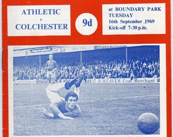 Vintage Football (soccer) Programme - Oldham Athletic v Colchester, 1969/70 season