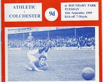 Vintage Football (soccer) Programme - Oldham Athletic v Colchester, 1969/70 season