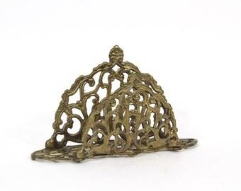 Vintage Brass Ornate Napkin Holder, Letter Holder