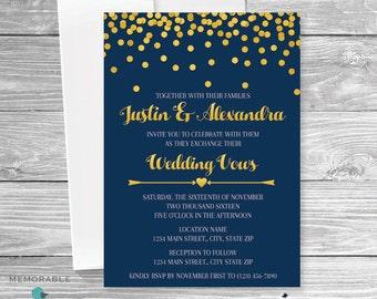 Navy Gold Wedding Invitation - Wedding Invitation - Modern Wedding Invitation - Gold and Navy Wedding Invitation  - Printable Invitations