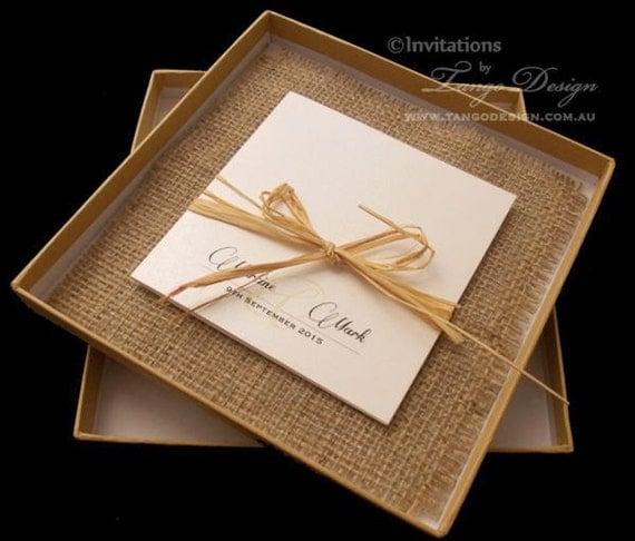 Rustic beach invitation burlap wedding by invitationsbytango for Rustic wedding invitations in a box