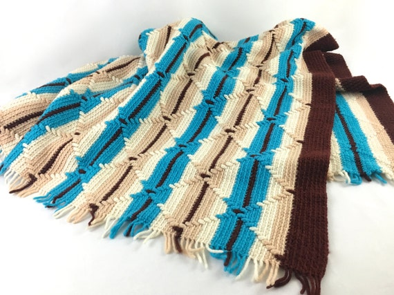 Crochet Pattern Southwestern Afghan : Turquoise & Brown Southwestern Afghan Blanket Vintage Crochet