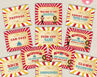 """Carnival Party Signs Vintage Circus Signs Set of 12 - 8x10"""" Digital Files Instant Download Carnival Printable Signs Welcome to the Carnival"""