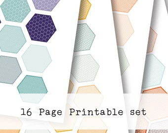 Inkwell Press Planner & other planners Hexagon Printable Sticker Kit - Instant Download