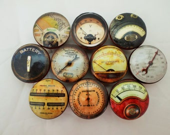 Set of 10 Industrial Meters and Gauges Cabinet Knobs