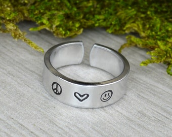 Peace Love and Happiness Ring