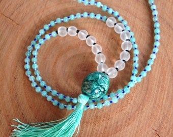 Beaded Turquoise Necklace, Beaded Turquoise Mala Necklace, Blue Beaded Necklace, Mint Tassel Necklace, Beaded Yoga Necklace, Tassel Necklace