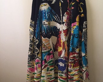 Vintage warrior princess maxi bohemian dream maxi skirt cotton linen full swing style love! M/L
