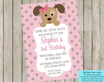 Puppy party invitation set - pink