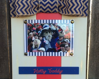 Ole Miss Hotty Toddy Large Bow Table Top Frame with Burlap Ribbon