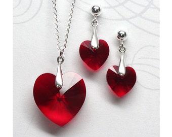Ruby Red Austrian Crystal Heart Jewellery Set, Sterling Silver, Red Heart Pendant, Red Heart Earrings