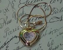 Handmade Gold Tone Heart in Heart Pendant Necklace, Gold Tone Watch Case Pendant, Charm Necklace, Two Tone Heart, Gold Tone Heart Pendant