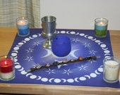 Altar Cloth or Tarot Cloth - Triple Moon Goddess in Blue - Pagan or Wicca - Designed by Wendy Wilson of Magic in Your Living Room