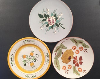 "Collection of 3 Stangl Pottery Plates, 8.25"" in Diameter; Tulip, First Love, Bella Rosa"