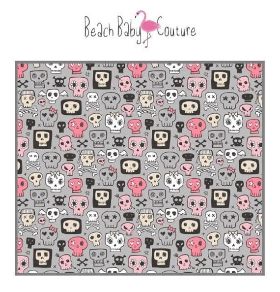Pink punk skulls bedding baby crib or toddler bed blanket for Rock n roll baby crib set
